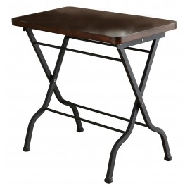 3309 Cherry / Charcoal Black Metal Folding Accent Table