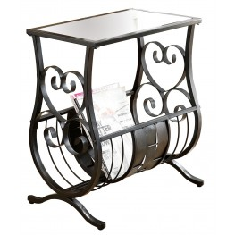 3314 Satin Black Metal Magazine Table