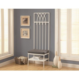 4541 White Hammered Metal Hall Entry Bench