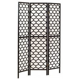 4639 Black Frame 3 Panel Folding Screen