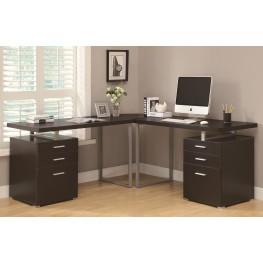 7026-3 Cappuccino 3Pc L-Shaped Desk Set