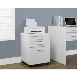 White Hollow-Core 3 Drawer Castors File Cabinet