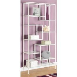 "7159 White Tempered Glass 72"" Bookcase"