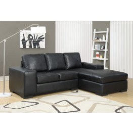 Black Bonded Leather Match Sofa Sectional