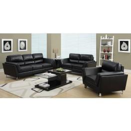 8203BK Black Bonded Leather Living Room Set