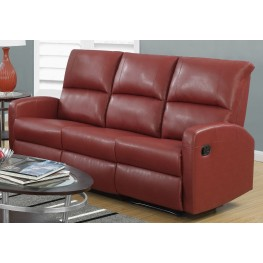 Red Bonded Leather Reclining Sofa