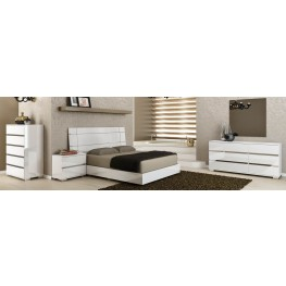 Vivente Icon White High Gloss Platform Bedroom Set
