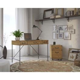"""Ironworks Vintage Golden Pine 48"""" Writing Desk and Mobile Pedestal"""