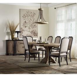 Corsica Dark Wood Rectangular Pedestal Extendable Dining Room Set