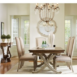 Sanctuary Cream and Brown Rectangular Dining Room Set