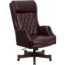 High Back Traditional Tufted Burgundy Executive Office Chair (Min Order Qty Required)