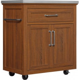 Bell'O Embossing Oak Madeleine Kitchen Cart