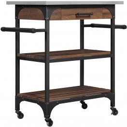 Bell'O Saw Cut Espresso Caraway Kitchen Cart