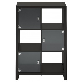 New York Skyline Modern Mocha 6-Cube Bookcase with Three Glass Doors