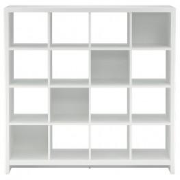 New York Skyline Plumeria White 16-Cube Bookcase / Room Divider