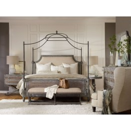 True Vintage Beige Fabric Upholstered Canopy Bedroom Set