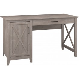 "Key West Washed Gray 54"" Single Pedestal Desk"