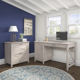 """Key West Washed Gray 54"""" Single Pedestal Desk with Lateral File"""