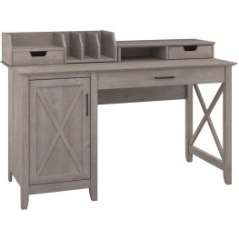 "Key West Washed Gray 54"" Single Pedestal Desk with Desktop Organizers"