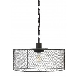 Black Metal Open Air Drum Shade Pendant Light