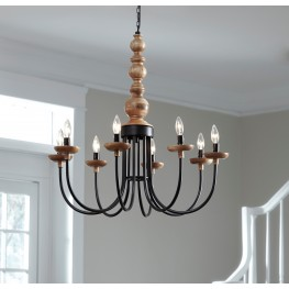 Fabrice Black and Natural Metal Pendant Light