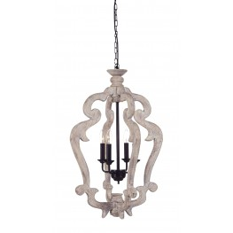 Jocelin Distressed White Wood Pendant Light