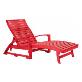 St. Tropez Red Chaise Lounge with Wheels