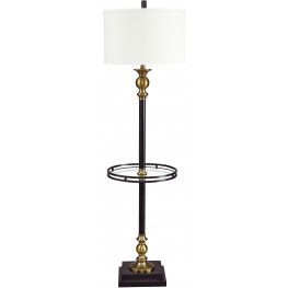 Jachin Black and Brass Metal Tray Lamp
