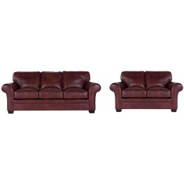 Zachary Leather Bark Top Grain Leather Living Room Set