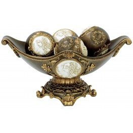 Sophia Golden Trim Bowl With Spheres Set of 2