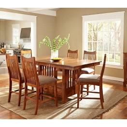 "Laurelhurst 72"" Mission Oak Extendable Rectangular Counter Height Dining Room Set"