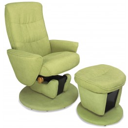 Relax-r Leaf Green Fabric Swivel Glider Recliner with Ottoman