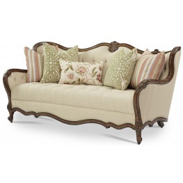 Lavelle Melange Wood Trim Tufted Sofa