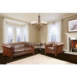 Winston Vintage Mocha Bonded Leather Living Room Set