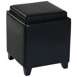 Rainbow Black Bonded Leather Storage Ottoman with Tray
