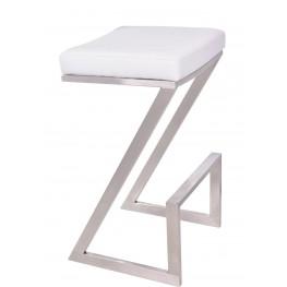"""Atlantis 26"""" White Brushed Stainless Steel Backless Barstool"""