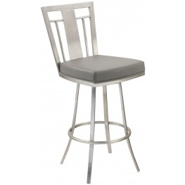 "Cleo 30"" Gray and Stainless Steel Swivel Barstool"