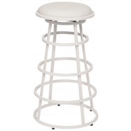 """Ringo 30"""" White Metal Backless Barstool"""