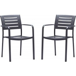 Zander Stackable Outdoor Brown Patio Dining Chair Set of 2