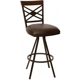 "Zoe 26"" Coffee and Auburn Bay Metal Armless Barstool"