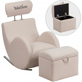 Personalized HERCULES Beige Fabric Rocking Chair with Storage Ottoman