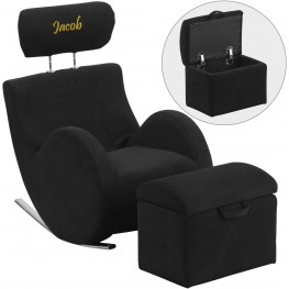 Personalized Hercules Black Fabric Rocking Chair With Storage Ottoman (Min Order Qty Required)