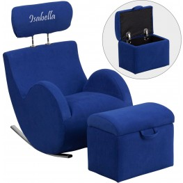 Personalized Hercules Blue Fabric Rocking Chair With Storage Ottoman (Min Order Qty Required)