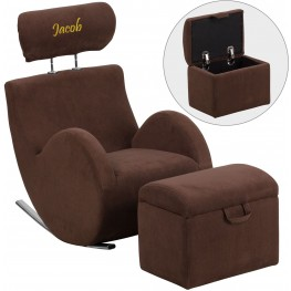 Personalized Hercules Brown Fabric Rocking Chair With Storage Ottoman (Min Order Qty Required)