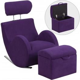 HERCULES Purple Fabric Rocking Chair with Storage Ottoman