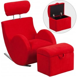 HERCULES Red Fabric Rocking Chair with Storage Ottoman