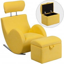 HERCULES Yellow Fabric Rocking Chair with Storage Ottoman