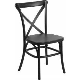 HERCULES Series Black Resin Indoor-Outdoor Cross Back Chair