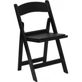 Hercules 1000lb. Capacity Black Resin Folding Chair with Black Seat