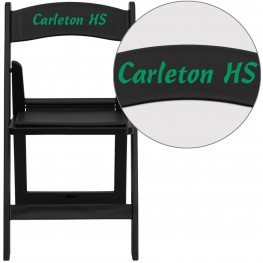 Personalized HERCULES Series Black Resin Folding Chair with Text Applique on Headrest